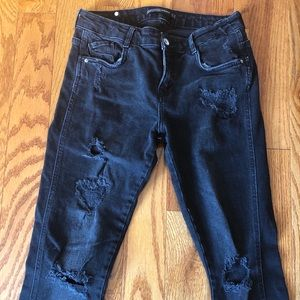 Zara black distressed denim jeans